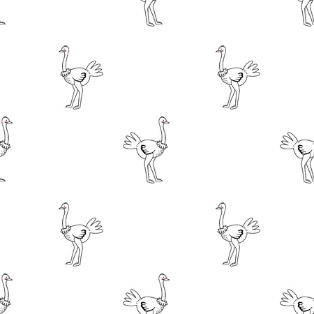 Ostrich vector pattern on white background.