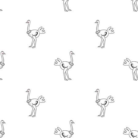Ostrich vector pattern on white background.