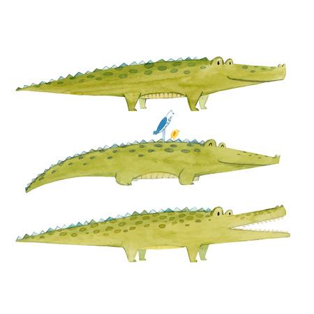 Beautiful vector set for baby with watercolor crocodiles alligators Ilustração