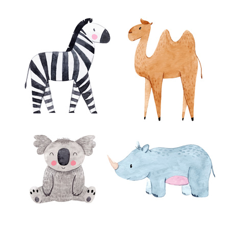 Beautiful vector set with watercolor safari animals zebra koala camel rhinoceros Ilustração