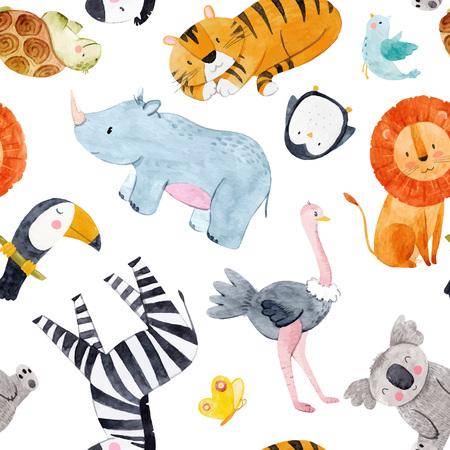 Safari animals watercolor vector pattern 矢量图像