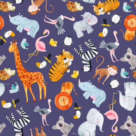 Safari animals water colour vector pattern Illustration