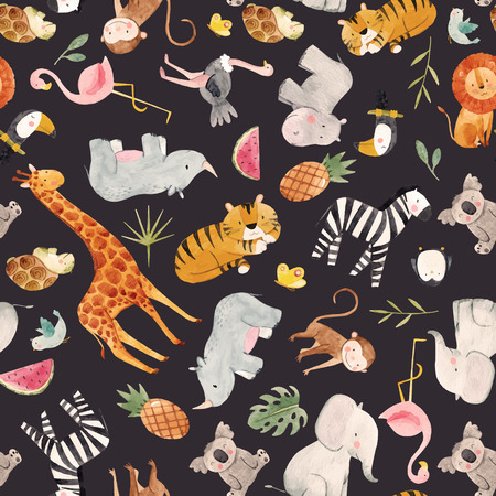 Beautiful pattern with watercolor animals tiger lion elephant hippo