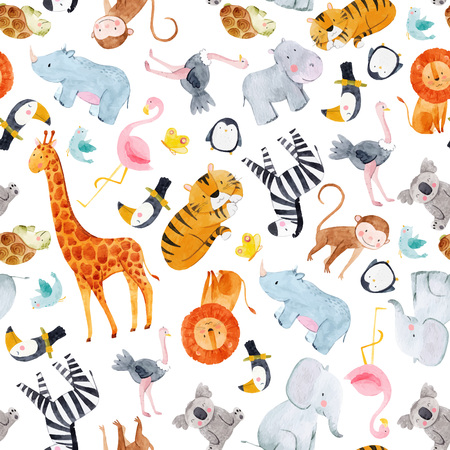 Safari animals watercolor vector pattern Çizim