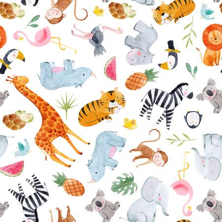 Safari animals watercolor vector pattern Illustration