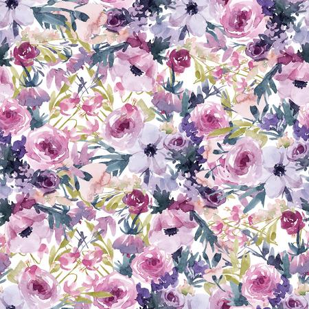Watercolor spring floral pattern 写真素材
