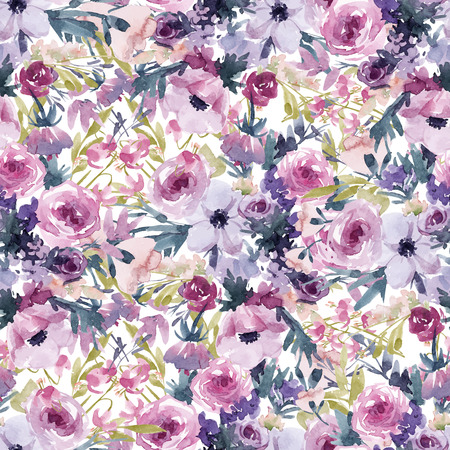 Watercolor spring floral pattern Banque d'images