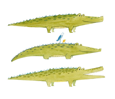 Watercolor crocodile set