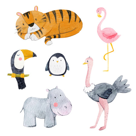 Watercolor animal set 版權商用圖片 - 101537462