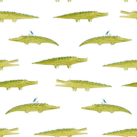 Watercolor crocodile pattern