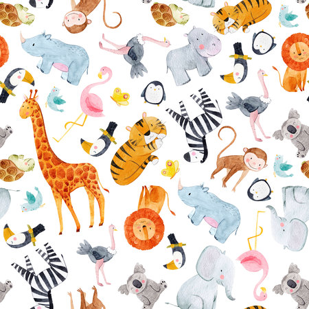 Safari animals watercolor pattern Archivio Fotografico - 101537471