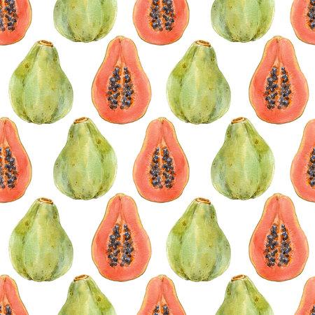 Watercolor papaya pattern Stock Photo