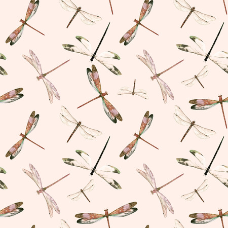 Watercolor dragonfly vector pattern