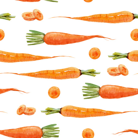 Watercolor carrot vector pattern Stock Illustratie