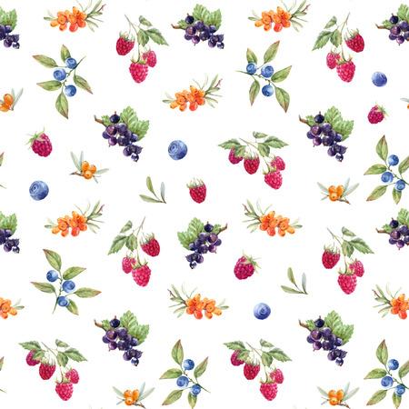 Watercolor berries vector pattern