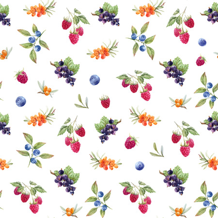 Watercolor berries vector pattern Фото со стока - 102051802