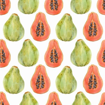 Watercolor papaya vector pattern Illustration