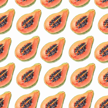 Watercolor papaya vector pattern  イラスト・ベクター素材