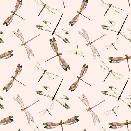 Watercolor dragonfly pattern