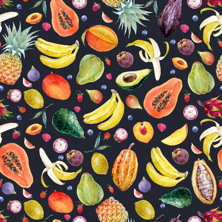 Watercolor exotic fruits vector pattern Standard-Bild - 102416352