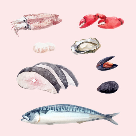 Beautiful set with hand drawn watercolor sea food