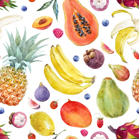 Beautiful vector seamless pattern with exotic tropical fruits healthy food Standard-Bild - 102416356