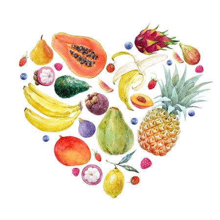 Watercolor exotic fruits composition Standard-Bild - 102666315