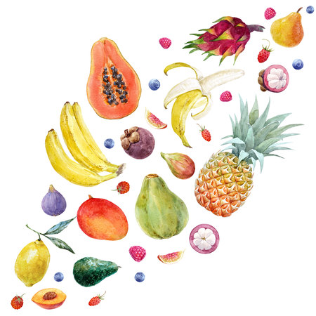 Watercolor exotic fruits composition