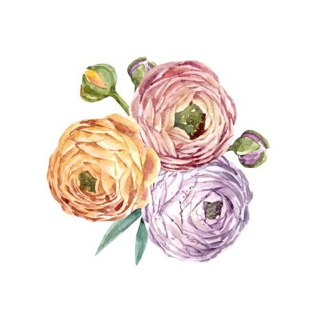 Watercolor floral vector composition Illustration