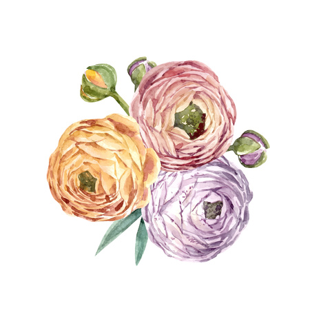 Watercolor floral vector composition Фото со стока - 103357362