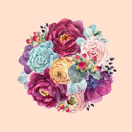 Watercolor floral vector composition Stock Illustratie