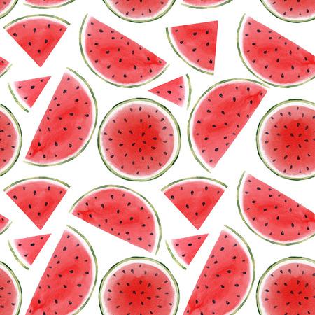 Watercolor watermelon seamless pattern 版權商用圖片