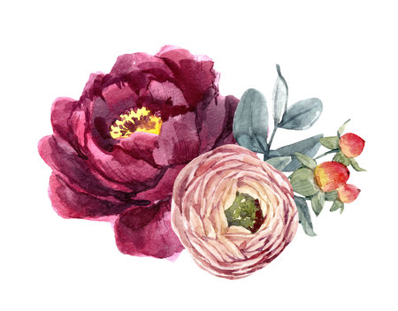 Watercolor floral composition Banco de Imagens - 103600571