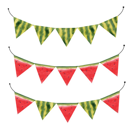 Watercolor watermelon flags