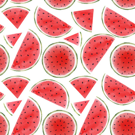 Watercolor watermelon seamless vector pattern