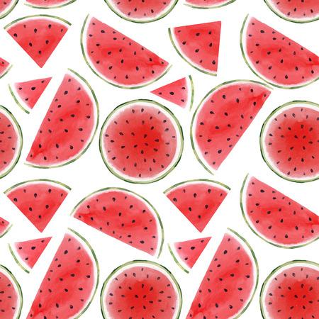 Watercolor watermelon seamless vector pattern