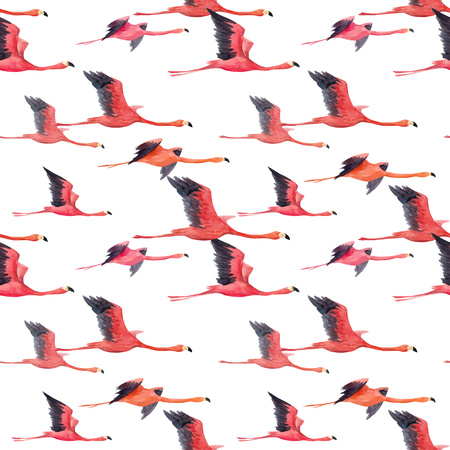 Watercolor flamingo vector pattern