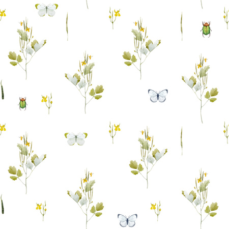 Beautiful vector seamless pattern with watercolor wild field summer flowers Illustration