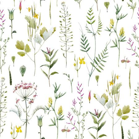 Beautiful vector seamless pattern with watercolor wild field summer flowers Stock Illustratie
