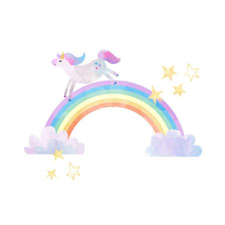 Ilustración de vector hermosa con unicornios y arco iris