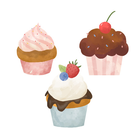 Beautiful set with hand drawn watercolor sweets capcakes Zdjęcie Seryjne - 114912817