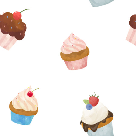Beautiful set with hand drawn watercolor sweets capcakes Illustration