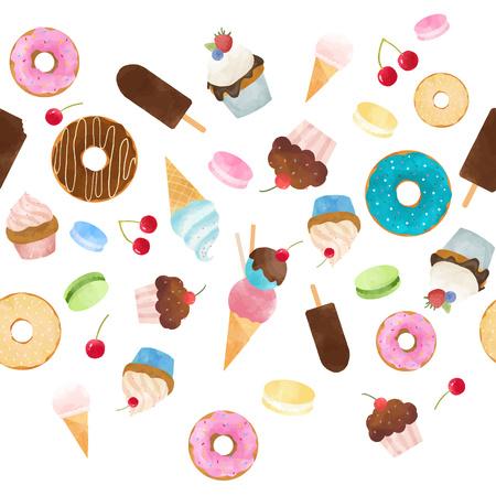Schönes nahtloses Vektormuster mit leckeren Capcakes-Donuts-Eiscreme und Macarons
