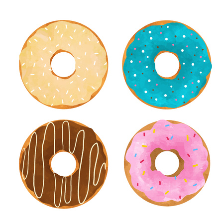 Beautiful vector set with four hand drawn tasty colorful donuts Illustration