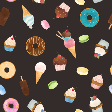 Beautiful vector seamless pattern with tasty capcakes donuts ice cream and macarons