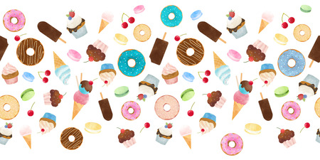 Watercolor sweets pattern