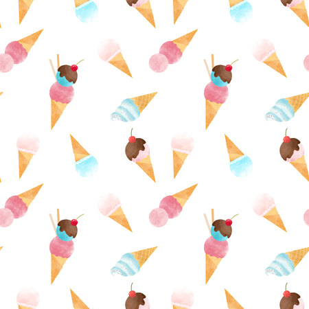 Watercolor ice cream pattern