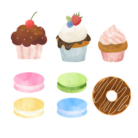 Watercolor sweets set Stock Photo