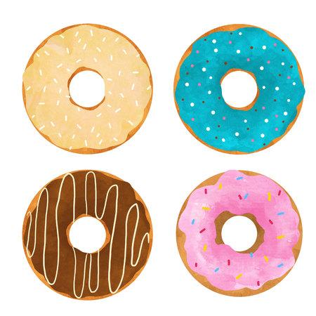 Watercolor donuts set