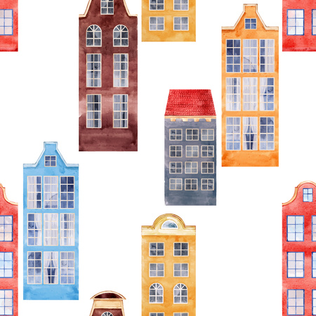 Beautiful vector seamless pattern with watercolor old city houses